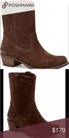 """UGG Briar Western Boots UGG Briar Western Boots.  NWT.  Fits true to size.  Richly burnished suede and a flattering shape elevate this Western boot redux. The Briar makes a rustic-chic statement and delivers signature UGG® comfort with a stacked heel, medial zipper, and stitched pull tabs.  Suede 1 ¾"""" heel 7 ¼"""" shaft height Side pull tabs Leather heel cap Medial zipper Foam insole lined with sheepskin Rubber outsole UGG Shoes Ankle Boots & Booties"""