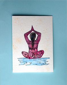 Watercolor card, (No. 191), ZentangleYoga girl, Yoga ,Zentangle, Yoga girl, yoga pose,  greeting card, original art, watercolor, OOAK
