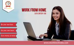Earn money by working from home just by doing Data Entry. For more detail visit http://www.ntsinfotechindia.com/