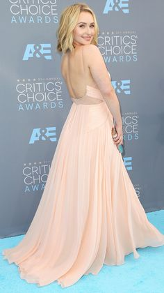 The back of Hayden Panettiere's peach Maria Lucia Hohan dress at the Critics' Choice Awards