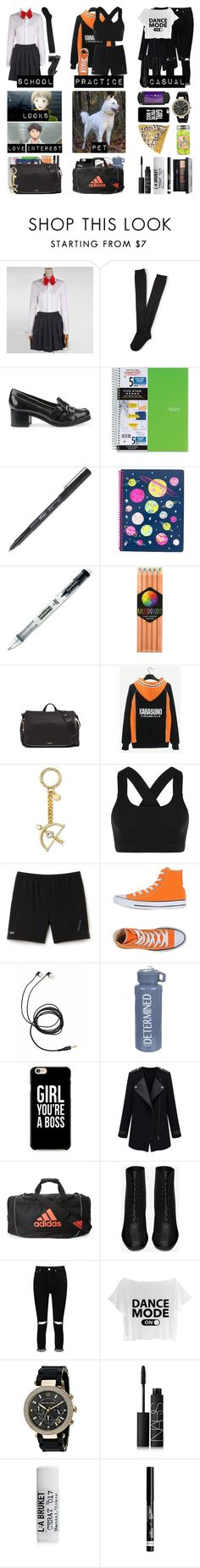 """Haikyuu OC"" by balancewarlord ❤ liked on Polyvore featuring Aéropostale, Geox, Mead, Paper Mate, International Arrivals, Tumi, MICHAEL Michael Kors, Lorna Jane, Lacoste and Converse"