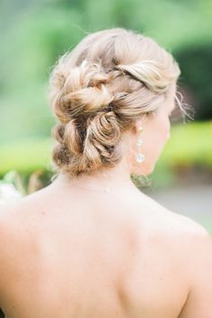 Bridal updo with draping earrings