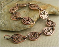 Antiqued, hammered copper spiral link bracelet