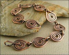 Antiqued, hammered copper spiral link bracelet