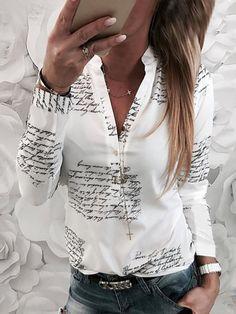Button Up Casual Print Long Sleeves Cotton Cotton Blends V-Neck Shirt Blouses Blouses, veryvoga Casual Tops, Casual Shirts, Casual Clothes, Trend Fashion, Womens Fashion, Bluse Outfit, Belle Silhouette, Mini Vestidos, Blouse Online