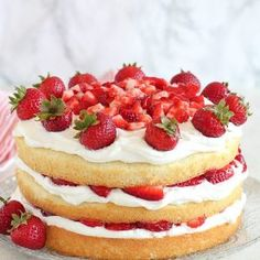 -Yummy- Strawberry Shortcake Cake - A fluffy vanilla sponge cake filled with layers of whipped cream frosting and juicy strawberries. The classic flavors of strawberry shortcake in a rustic, yet elegant layer cake. Vanilla Sponge Cake, Vanilla Cake, Strawberry Shortcake Recipes, Strawberry Cupcakes, Whipped Cream Frosting, Menu, Apple Smoothies, Salty Cake, Dessert Recipes