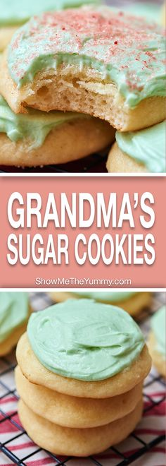 These really are Grandma's Best Sugar Cookies! They're perfectly soft, a little bit chewy, with the right amount of tang from the sour cream and I'd definitely suggest topping it with that ultra fluffy buttercream! showmetheyummy.com #christmas #cookies