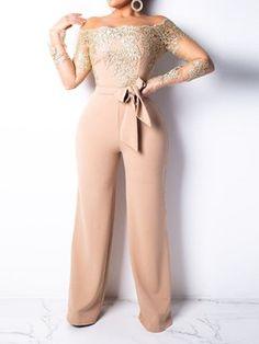 b421712c681 Elegant Appliques Lace Patchwork Jumpsuit Women Sexy Off Shoulder Long  Sleeve Wide Leg Pants Women Jumpsuit Female Body Overalls