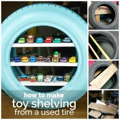 Tire Toy Shelving Tutorial - awesome idea and the kids will love it!