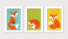 Cute and Colorful Fox Nursery Wall Art Print on Etsy, $4.78 AUD