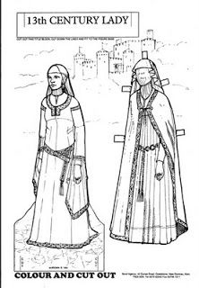 13th century lady paper doll to color: inkspired musings: Dreams of Knights and Castles and Maidens Fair