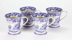 Set of 4 Coffee Tea Mugs Porcelain Blue White Cottage Vintage Edwardian Willow #CoffeeTeamug #blueandwhite #chinoisforliving #chinois #willow #chinoiserie #bluewillow
