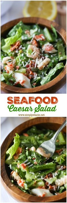 Seafood Caesar Salad - With salmon, shrimp and crab packed into every bite, seafood fans are in for a real treat with this delicious recipe for Seafood Caesar Salad.