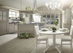 Rustic French Country Kitchen Design with White Wooden Furniture Sets