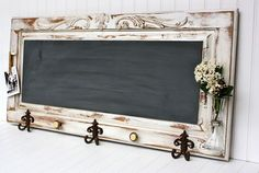 Salvaged Cabinet Door - a painted and distressed door, chalkboard paint, an applique and hardware turn an unused cabinet door into a chalkboard/message board - Trucs and Bricolages - Blackboards for Kitchens