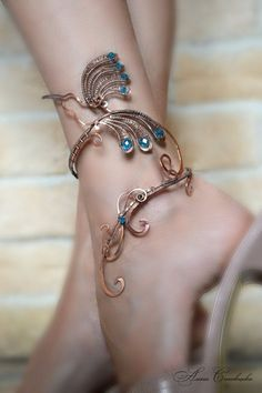Anklet - anklet bangle - body jewelry - foot piece -  leg bracelet - ankle…