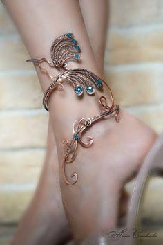 Anklet - anklet bangle - body jewelry - foot piece -  leg bracelet - ankle…