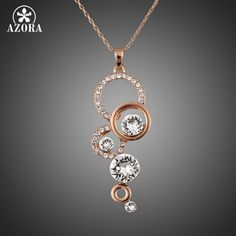 AZORA Rosa Banhado A Ouro Puro Limpar Simplesmente Small Round 1 quilate Cubic Zirconia Colar Pingente TN0046