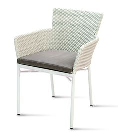 San Diego Dining Armchair stackable to 4 pieces. Finished in matt white powder coat aluminium frame, with white wash flat wicker to sides and back. Outdoor Tables, Outdoor Decor, Dining Arm Chair, Wicker, Armchair, Outdoor Furniture, Home Decor, Sofa Chair