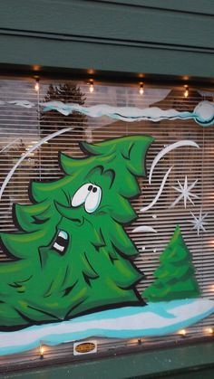 window art by scotcampbell on DeviantArt Christmas Window Display, Christmas Window Decorations, Christmas Drawing, Christmas Paintings, Painted Window Art, Window Mural, Winter Painting, Chalkboard Art, Christmas Pictures