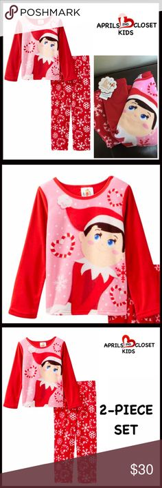 ELF ON THE SHELF FLEECE PAJAMAS SET 💟NEW WITH TAGS💟  ELF ON THE SHELF FLEECE PAJAMAS SET (Girls)  * Super soft & cozy  * 2-piece set   * Consumer Product Safety approved   * Scoop neck, long sleeves top  * Graphic print front  * Elasticized waist & Allover print bottom   Fabric: 100% polyester Color: Multi Item#  🚫No Trades🚫 ✅ Offers Considered*✅ *Please use the blue 'offer' button to submit an offer. AME Sleepwear Pajamas Pajama Sets