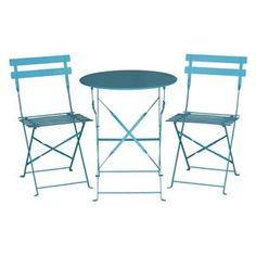 Juego de 2 sillas plegables de acero para terraza color azul Bolero [3]