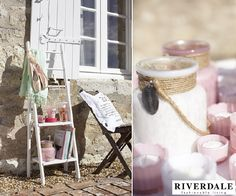 Garden Trends 2013 - Riverdale Fashionable Living Garden  Accessories 'Rockin Romance' -  Glass Riverdale Lanterns in Soft Colors, Riverdale Display Ladder, Riverdale Text Pillows, Riverdale Scent Sticks, Plaid and Baskets for on the Terrace, Balkcony & in the Garden
