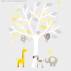 Grey And Yellow Safari Fabric Wall Stickers by Littleprints, the perfect gift for Explore more unique gifts in our curated marketplace. Safari Nursery, Safari Theme, Girl Nursery, Yellow Gray Bedroom, Yellow Nursery Decor, Nursery Neutral, Nursery Wall Stickers, Nursery Wall Art, Nursery Ideas