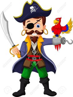 Cartoon pirate and parrots vector image on VectorStock Pirate Cartoon, Pirate Pictures, Travel Toys, Class Decoration, Pirate Theme, Bear Toy, Adobe Illustrator, Parrot, Renaissance