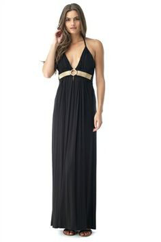 New #springfashion. Gorgeous Sky BROFI Maxi Dress in black with gold chain details at the bust. #style #boutique #shopping