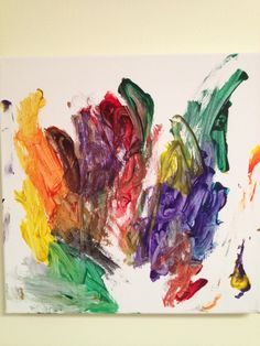 A colorful finger-painting made by Addisyn, 4 years old • Art My Kid Made #kidart #fingerpaint