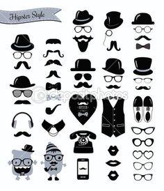 c944902a508ac Hipster Retro Vintage Icon Set — Stock Illustration  40172345 Little Man  Party