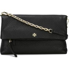 Tory Burch Small Cross-Body Bag ($600) ❤ liked on Polyvore featuring bags, handbags, shoulder bags, black, black leather purse, leather cross body purse, leather handbags, crossbody purse and leather shoulder bag