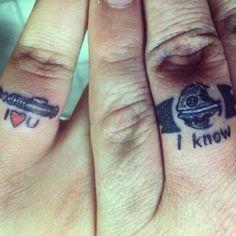 #love#inlove#tattoo#fingertattoo#ringtattoo#engaged#married#wedding#starwars#lightsaber#cute#adorable#soinlove#iloveyou#want#need#couple#coupletattoo#tattoos