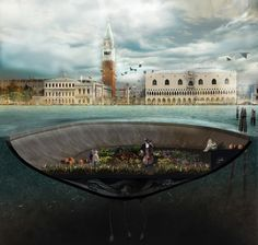 In Venice, Bam! conceived of a string of crater-like structures that resemble giant steel drums and float around, partially submerged, in the canals, playing host to concerts, art shows, and garden parties.