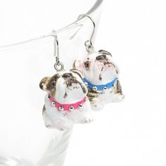 English Bulldog Earrings Pet Lover Gift Ceramic Jewelry Craft 00025 | madamepomm - Seasonal on ArtFire