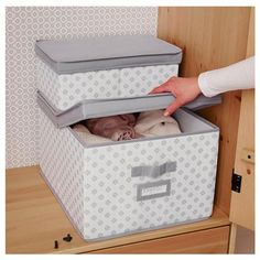 """SVIRA Box with lid, gray, white flowers - gray/white flowers - 15 """" - IKEA Nice clothe box. Matches my pink and grey closet theme Bathroom Drawer Organization, Bathroom Drawers, Closet Organization, Organisation Ideas, Storage Ideas, Box With Lid, Nursery Neutral, Covered Boxes, Baby Boy Nurseries"""