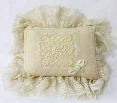 Vintage victorian style beige lace bed accent throw pillow ring bearer crochet