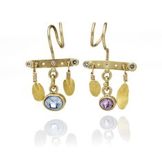 Josephine Bergsøe Wild oak earrings made in 18 & 22 carat gold with sapphires and diamonds.