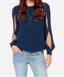 Jewel Casual cuello de manga larga ahueca hacia fuera la blusa de la gasa para las mujeres