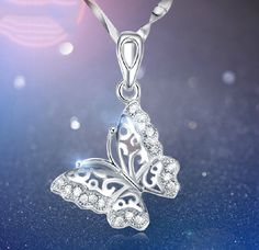 Classical 925 Sterling Silver Crystal Hollow Butterfly Necklace