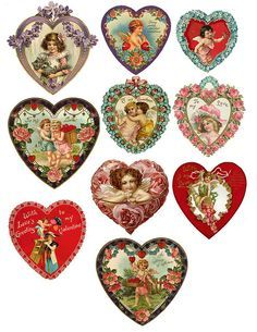 this link contains free collage images from over 1000 people Doll Valentine's Images Vintage, Vintage Tags, Vintage Labels, Vintage Ephemera, Vintage Prints, Printable Vintage, Vintage Heart, Vintage Postcards, Valentine Images