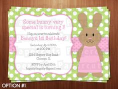 Printable DIY Pink and Green Bunny Rabbit Girl Theme Personalized Happy Birthday Party Invitation. $12.00, via Etsy.