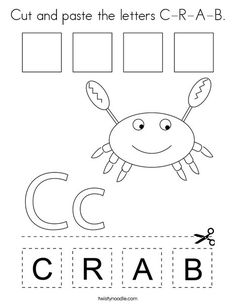 Cut and paste the letters C-R-A-B Coloring Page - Twisty Noodle Arts And Crafts For Kids Toddlers, Bible Activities For Kids, Bible For Kids, Preschool Activities, Letter C Worksheets, Preschool Worksheets, Numbers Preschool, Preschool Letters, Zebra Coloring Pages