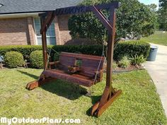 DIY Porch Swing with Center Console and Stand