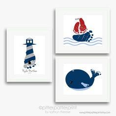 Nautical Nursery Art Baby Footprint by PitterPatterPrint on Etsy