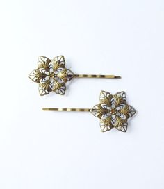 Set of 2 Antique Brass Snowflake Bobby Pins  by TheHouseofGarland