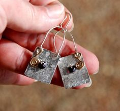 Silver Earrings+Garnets.Metal Sheet Earrings.Sterling Silver.Silver Jewelry. https://www.etsy.com/il-en/listing/171834825/silver-earringsgarnetsmetal-sheet?ref=shop_home_active