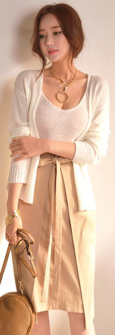 StyleOnme_Front Ribbon Tie Wrap Style Skirt #beige #ribbon #summer #koreanfashion #kstyle #kfashion #seoul #dailylook #feminine #chic #skirt