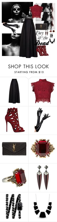 """Day of the Dead"" by lily-melfi ❤ liked on Polyvore featuring Alberta Ferretti, Martha Medeiros, Giuseppe Zanotti, Yves Saint Laurent, Alexander McQueen, Alexis Bittar, Chanel and Karen Kane"